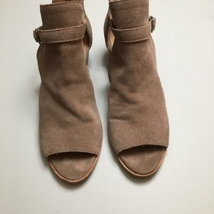 Lucky Brand Suede Leather Stacked Wedged Sandal